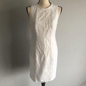 Lark & Ro white crochet front sheath dress 6